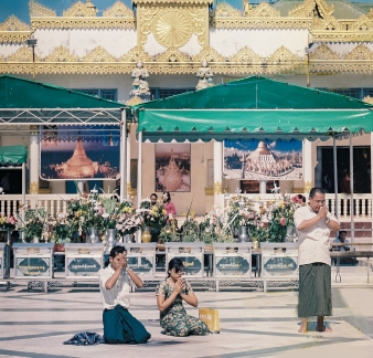 Prayer at Shwedagon Pagoda, Myanmar