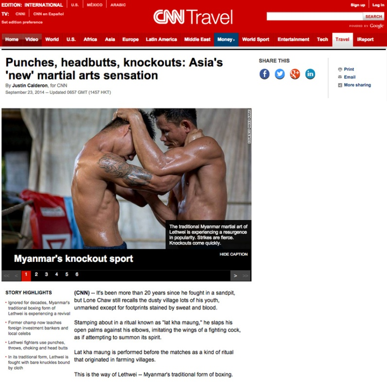 Nikko Karki's images used for CNN Travel feature on Lethwei boxing in Myanmar.